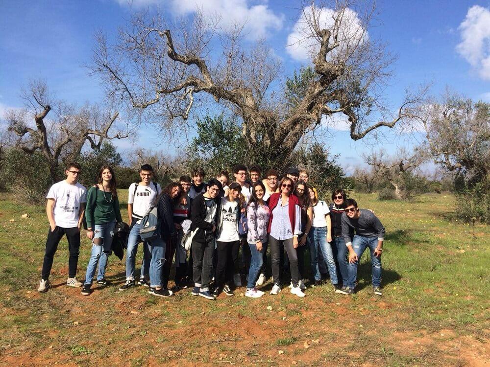La classe con la prof.ssa Elia in Salento